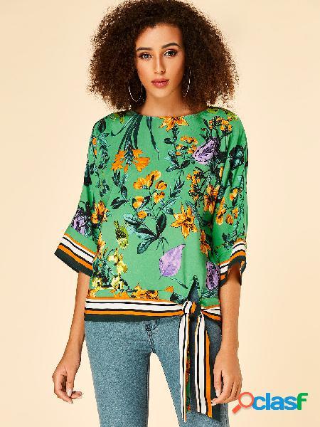Yoins blusa com estampa tropical verde listrada em volta do pescoço