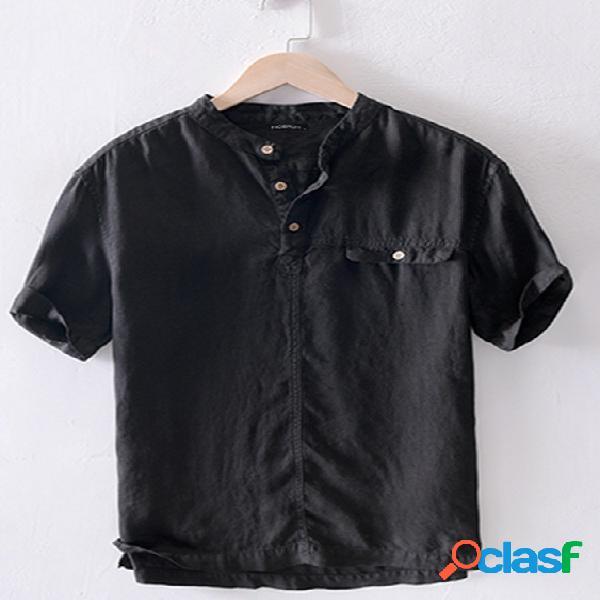 Incerun homens linho estilo chinês manga curta camisa