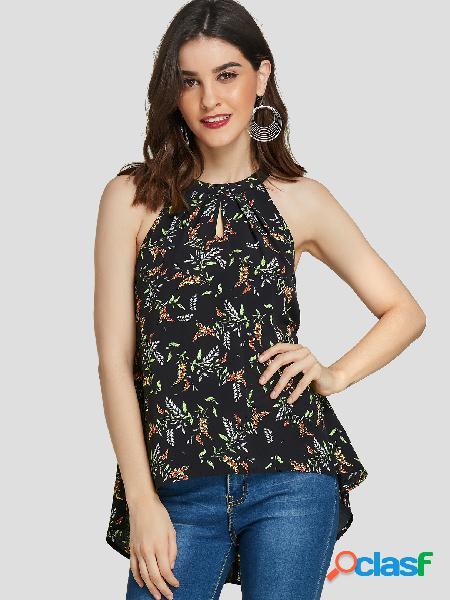 Yoins camisola sem mangas com estampa floral preto alto-baixo