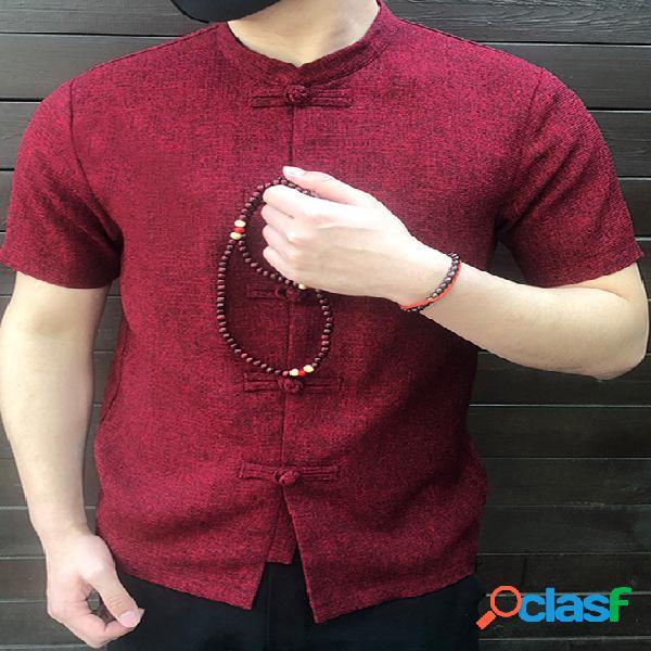 Incerun homens vintage stand colarinho manga curta camisa