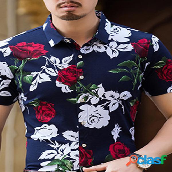 Incerun masculino floral havaiano vintage camisa casual botão de manga curta camisa