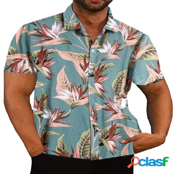 Masculino summer tropical impresso casual manga curta camisa
