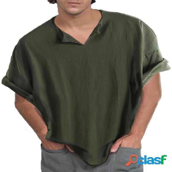 Camiseta masculina medieval retro respirável média comprimento com decote em v manga curta