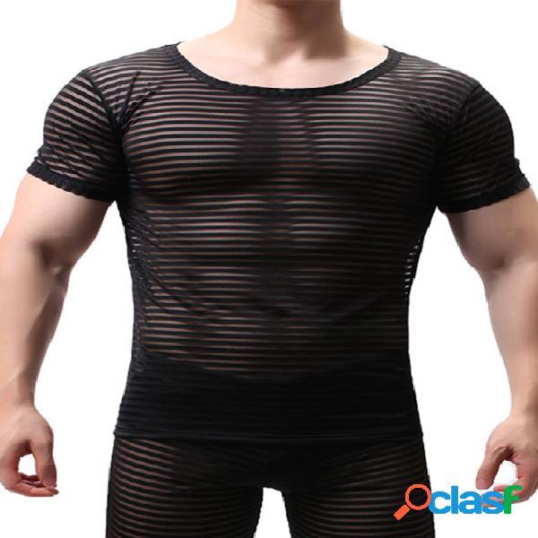 Incerun camiseta masculina esportiva verão lisa listrada respirável slim fit