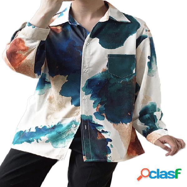 Incerun homens tie dye impresso manga longa com botão top casual camisa