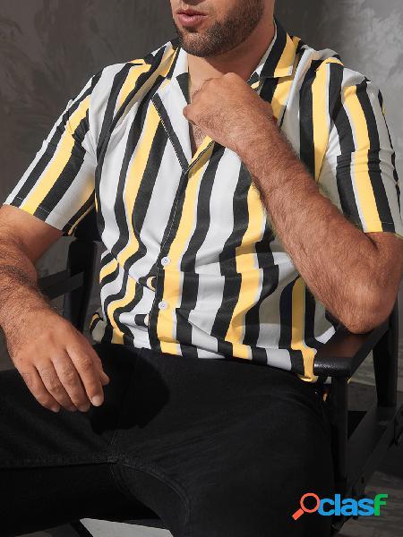 Moda verão masculina casual listrada padrão impressão manga curta camisa