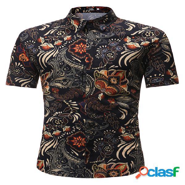 Masculino retro paisley impresso confortável férias manga curta camisa