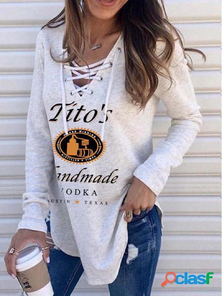 Camisola de mangas compridas letter & graphic criss-cross design com decote em v