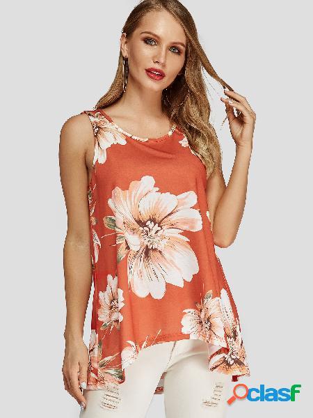 Camiseta floral laranja com estampa floral redonda