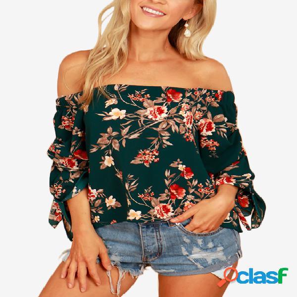 Blusa com estampa floral verde aleatória sem ombro e mangas
