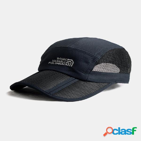 Homem dobrável verão esporte ao ar livre de secagem rápida para-sol respirável snapback beisebol chapéu