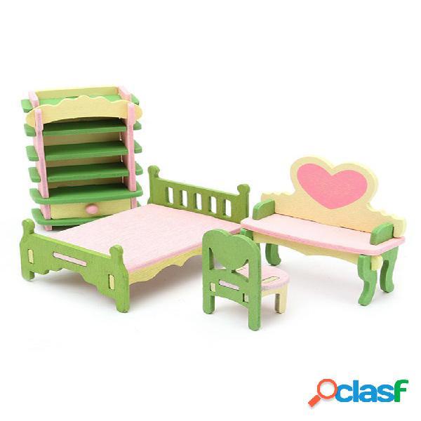 4 conjuntos de kits de móveis de casa de boneca de madeira delicada para casa de boneca brinquedo divertido para a famíl