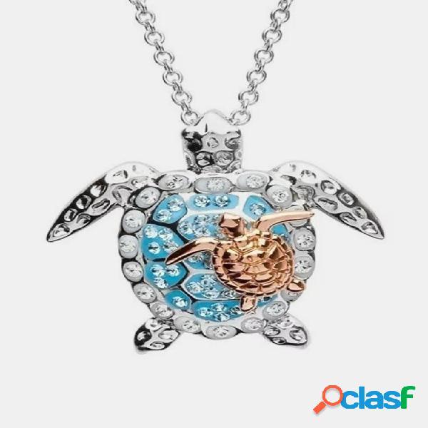 Colar em forma de tartaruga marinha de diamantes de liga de luxo