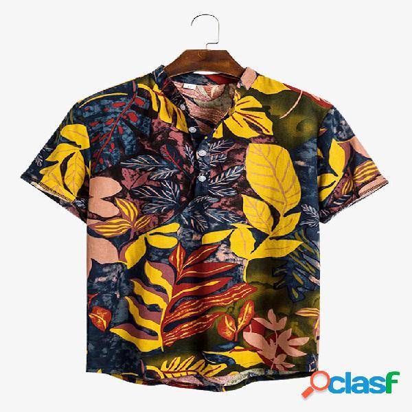 Mens tropical leaves impresso solto casual manga curta camisas henley