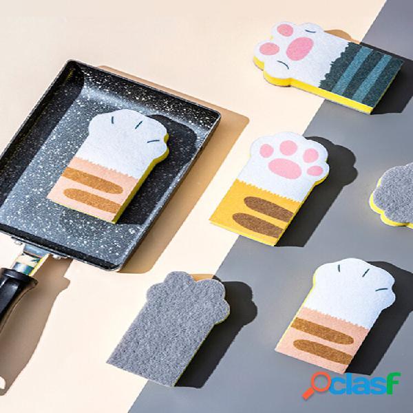 3 pcs cat claw cleaning esponja bloco três suprimentos domésticos instalados para cozinha lavagem de louça escova panela