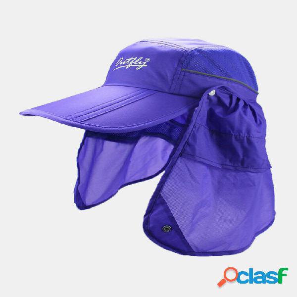 Guarda-sol de verão de aba larga unissex, pescoço, rosto uv proteção respirável viseiras removíveis beisebol chapéu