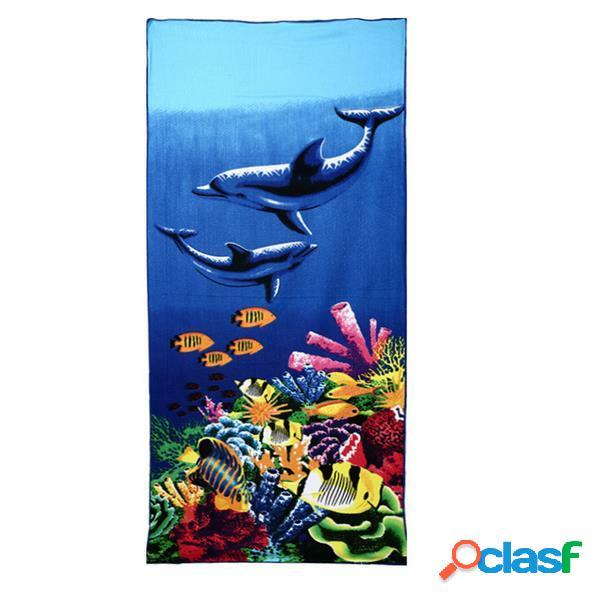 70x150cm toalha de praia estampa azul microfibra absorvente secagem rápida
