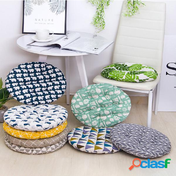 Almofada de assento de algodão de linho respirável de formato redondo espesso almofada de cadeira lavável de verão 40/45