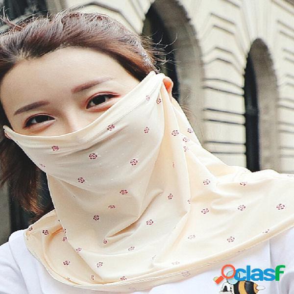 Protetor solar floral véu de verão respirável rosto cheio máscara orelha suspensão proteção ultravioleta pescoço máscara