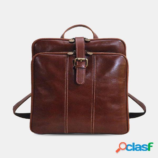 Loops para caneta de couro pu masculino 13.3 bolsa para notebook de grande capacidade com alça de mochila