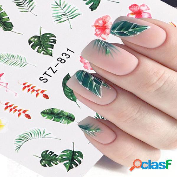 3d unhas art sticker diy flower green folha tree slider marca d'água decoração de manicure