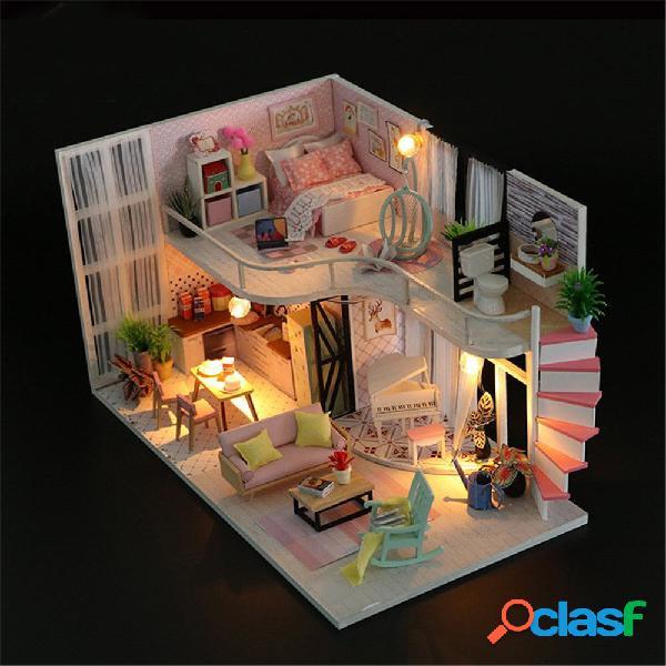 Casa de boneca diminuta da casa de boneca de madeira concisa de diy com tampa protetora contra poeira