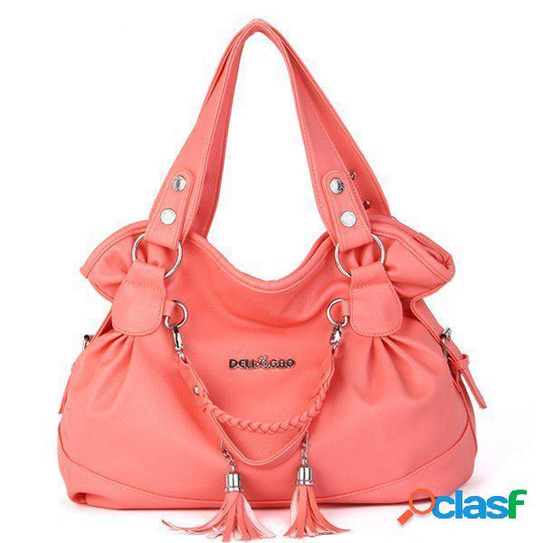 Mulheres elegantes tassel pingente bolsa ladies casual shopping shoulder bolsa