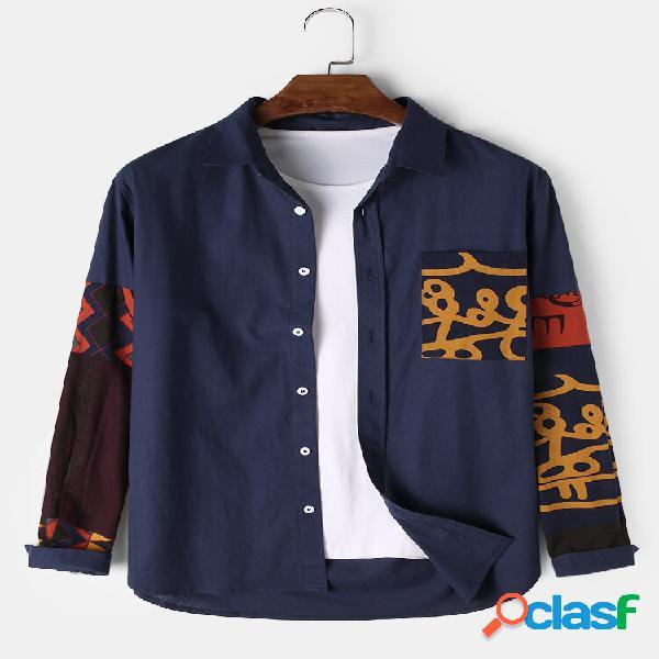 Mens 100% algodão étnico patchwork impresso manga longa camisa