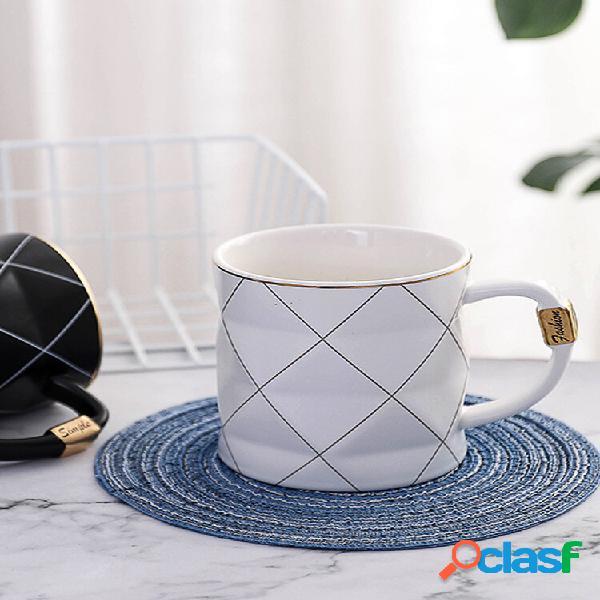 Xadrez preto e branco cerâmico copo nórdico ins café leite chá água caneca de negócios melhor presente