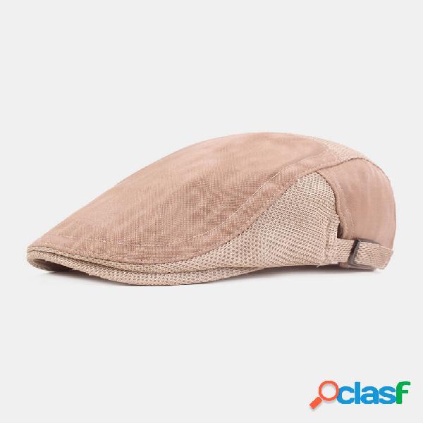 Malha masculina cor sólida verão exterior plano respirável chapéu frente chapéu boina