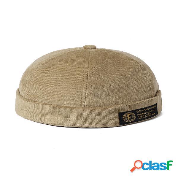 Casais masculinos e femininos sólidos ajustáveis veludo cotelê chapéus sem aba tampa balde de crimpagem retrô