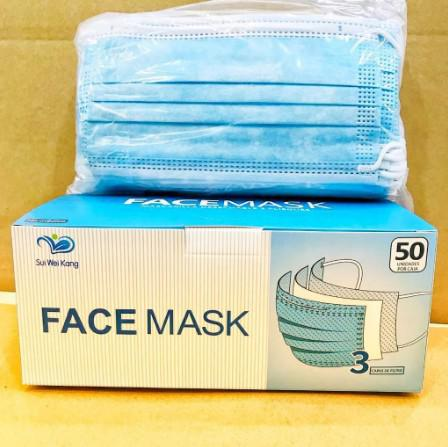 Máscara descartável de proteção facial tripla cx c/ 50