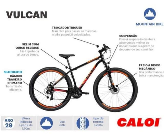 Bicicleta caloi vulcan tamanho 17 aro 29 de alumínio