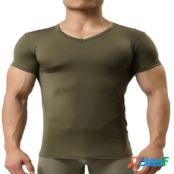 Incerun homens moletom esporte à prova de suor t-shirt de manga curta com decote em v