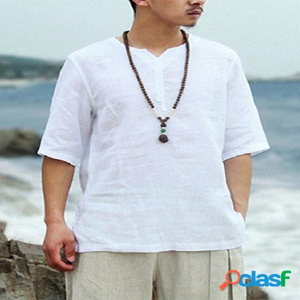 Incerun masculino summer bohemian linho simples meia manga com decote em v camiseta