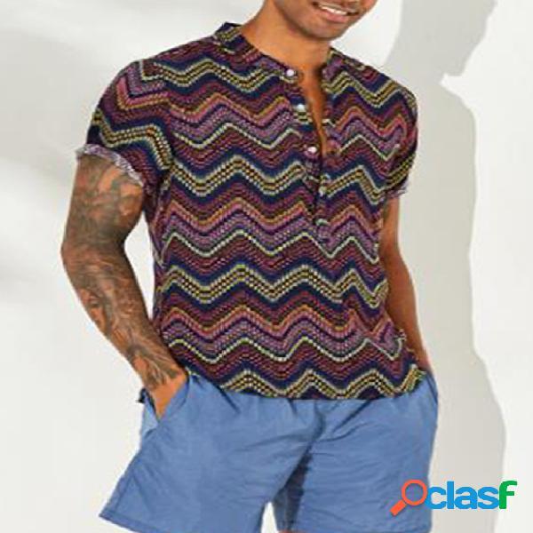 Incerun masculino verão retro tribal impresso manga curta camisa
