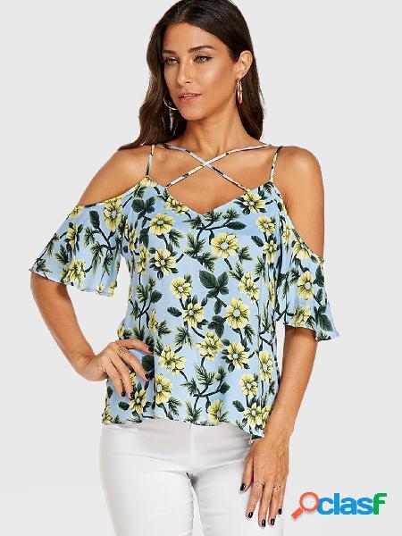 Yoins blusa de ombro frio com estampa floral aleatória azul claro