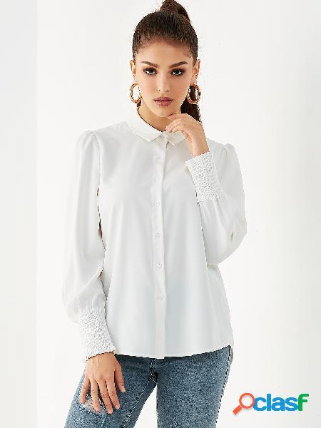 Yoins blusa frente com botão branco classic gola bata