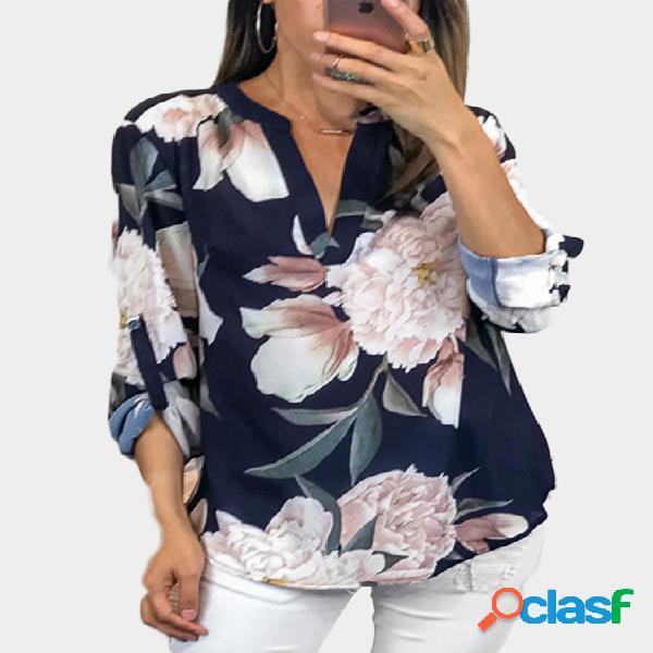 Blusa casual marinha com estampa floral aleatória com decote em v de mangas compridas