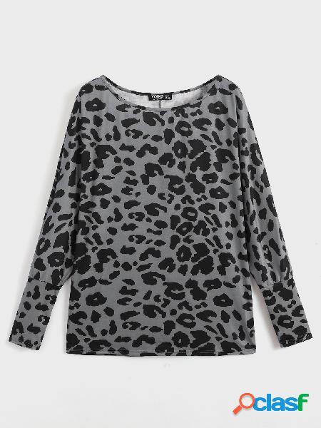 Yoins basics leopard one blusa de manga comprida de ombro