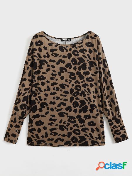 Yoins basics leopard one blusa de ombro manga comprida