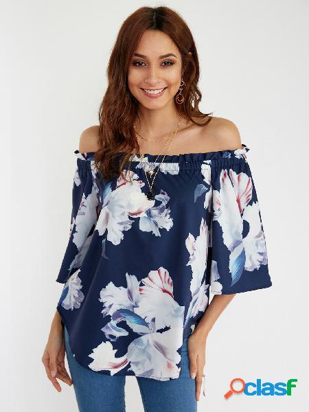 Blusa de manga curta com estampa floral marinha aleatória