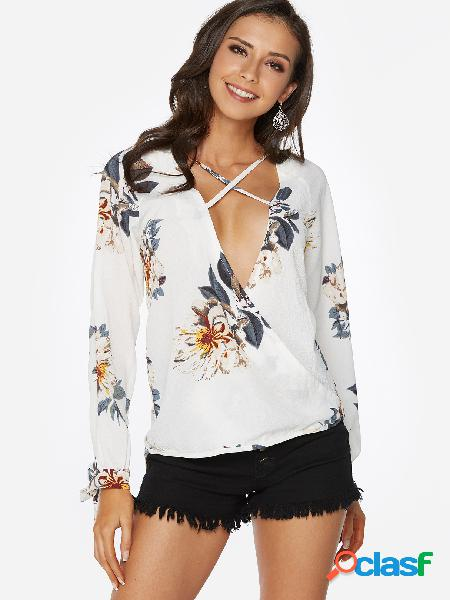 Blusa de mangas compridas com estampa floral com estampa floral em v design white crossed front