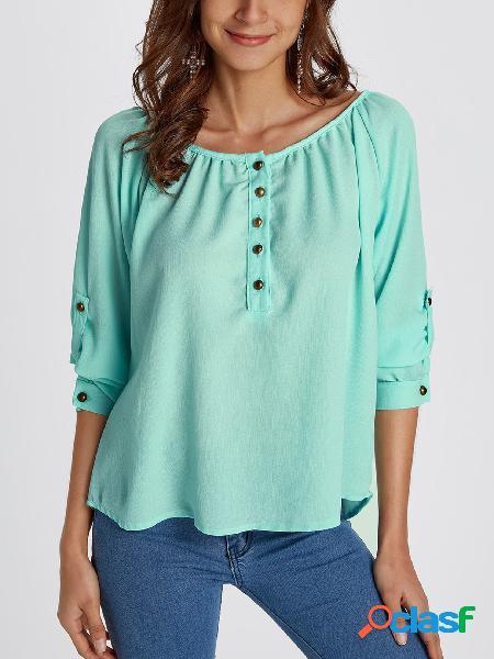 Botão design blusa lisa de mangas compridas em volta do pescoço