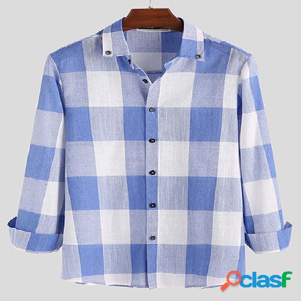 Incerun masculino manga comprida casual botão xadrez camisa