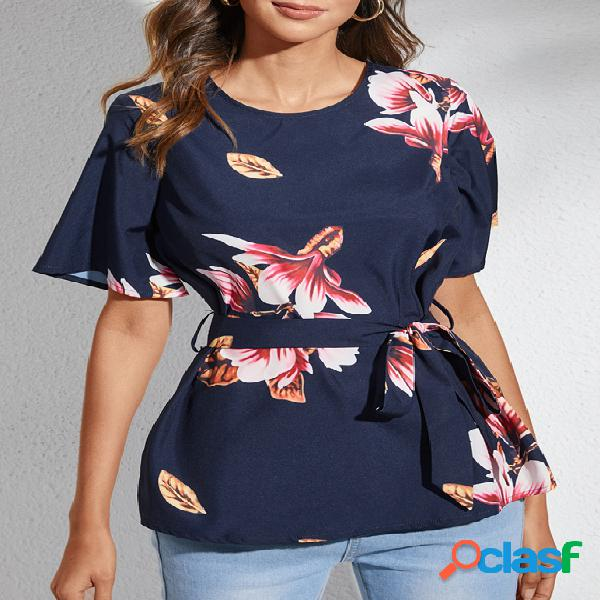 Yoins blusa de manga curta com estampa floral marinha aleatória com decote redondo