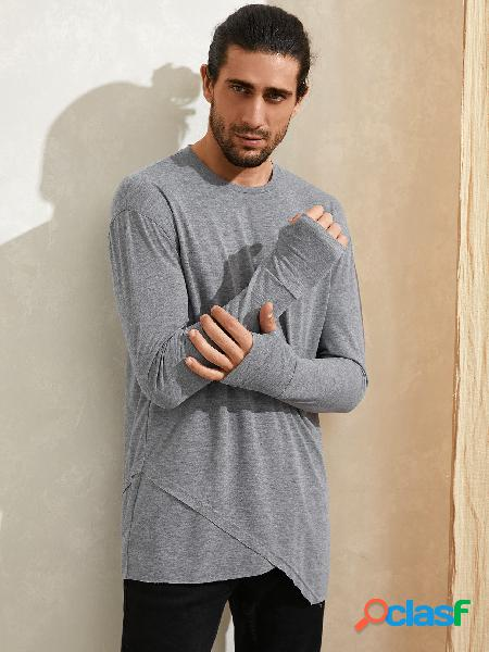 Camiseta masculina casual confortável simples com bainha irregular