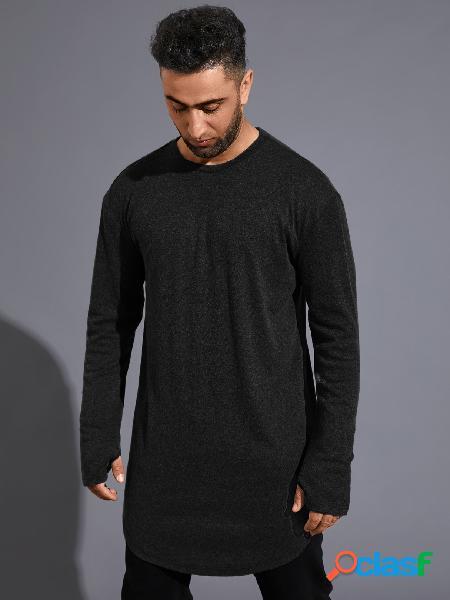 Camiseta masculina casual lisa curva com bainha longa manga comprida confortável