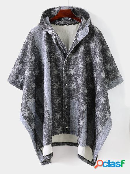 Casaco com capuz masculino casual impresso único peito irregular manga morcego