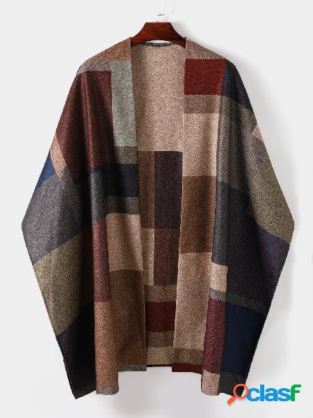 Casaco de lã masculino com costura solta moda casual